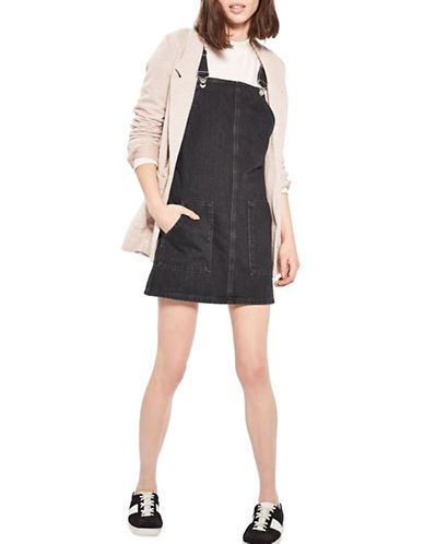 Topshop MOTO True Pini Denim Dress-WASHED BLACK-UK 12/US 8