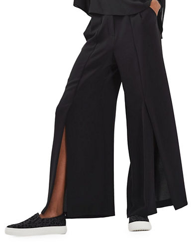 Topshop Mia Split Front Wide Leg Trousers-BLACK-UK 10/US 6