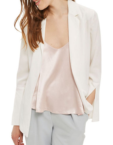 Topshop Open Back Blazer-IVORY-UK 12/US 8