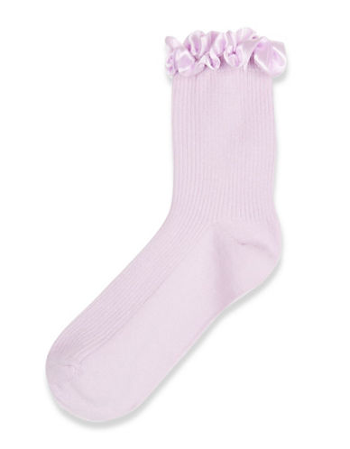 Topshop Satin Trim Ankle Socks-LILAC-One Size