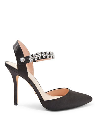 Topshop Gem Embellished Satin Pumps-BLACK-EU 38/US 7.5