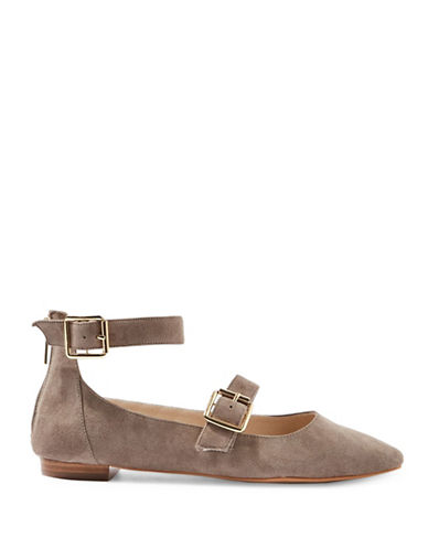 Topshop Katrina Suede Buckle Ballerina Shoes-GREY-EU 37/US 6.5