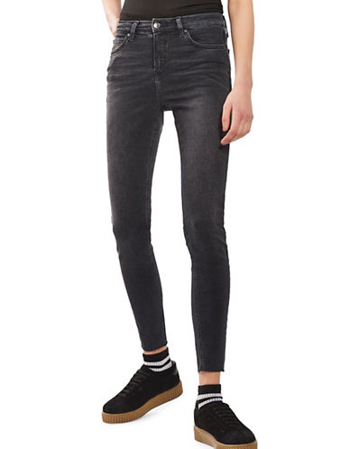 Topshop MOTO Washed Raw Hem Jamie Jeans-WASHED BLACK-25X30