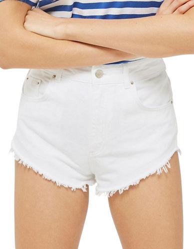Topshop MOTO High Side Shorts-WHITE-UK 14/US 10