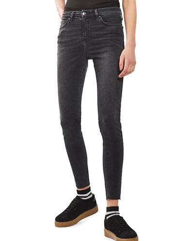 Topshop MOTO Washed Raw Hem Jamie Jeans 32-Inch Leg-WASHED BLACK-24X32