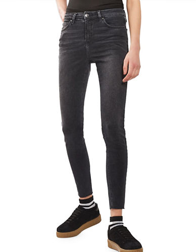 Topshop MOTO Washed Raw Hem Jamie Jeans 34-Inch Leg-WASHED BLACK-34X30