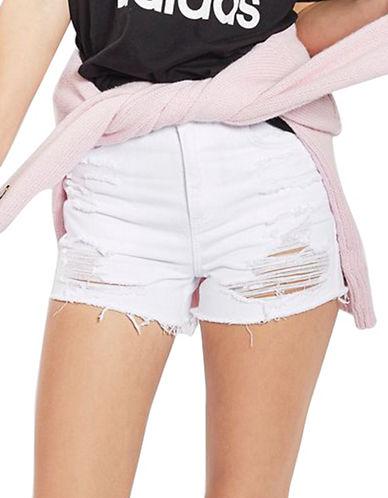 Topshop MOTO Longline Denim Mom Shorts-WHITE-UK 12/US 8
