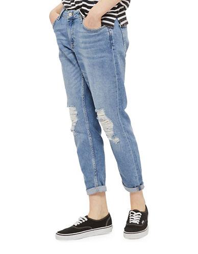 Topshop MOTO Blue Ripped Lucas Jeans-BLUE-32X30