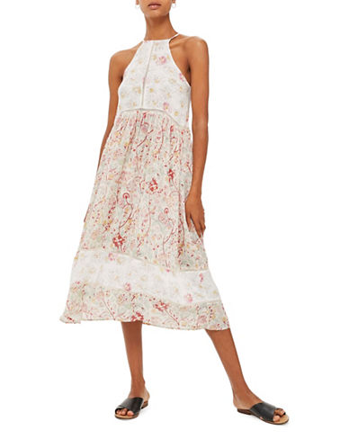 Topshop Patchwork Floral Midi Dress-WHITE-UK 8/US 4