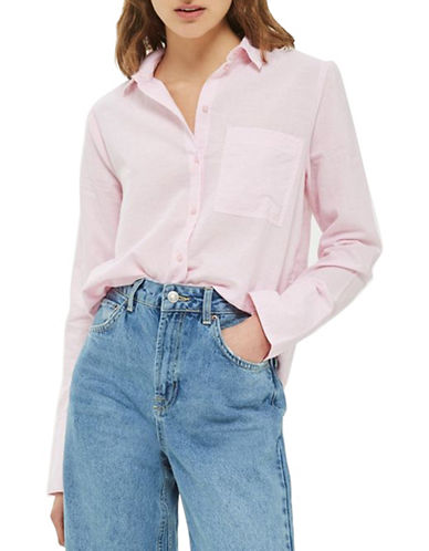 Topshop Zayn Chambray Shirt-PINK-UK 6/US 2