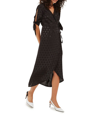 Topshop Jacquard Wrap Midi Dress-BLACK-UK 8/US 4