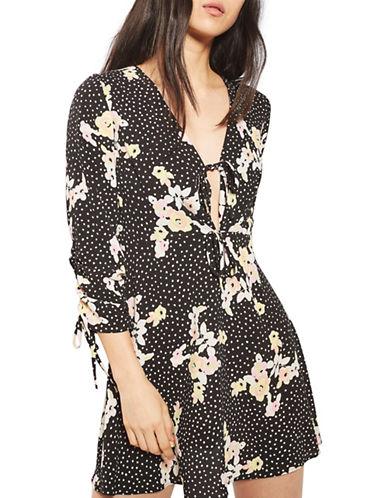 Topshop PETITE Spot and Floral Tea Dress-BLACK-UK 8/US 4