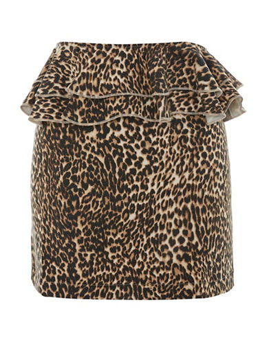 Topshop Leopard Ruffle Mini Skirt-BROWN-UK 12/US 8