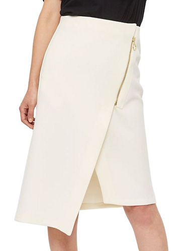 Topshop Asymmetric Zip Midi Skirt-CREAM-UK 8/US 4