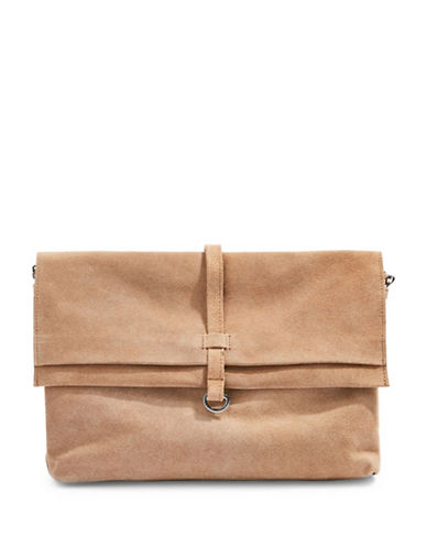Topshop Suede Leather Crossbody Bag-STONE-One Size