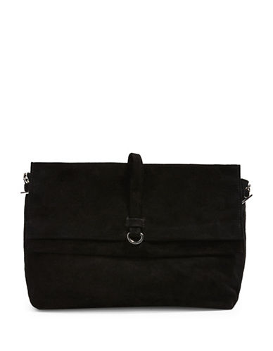 Topshop Suede Leather Crossbody Bag-BLACK-One Size
