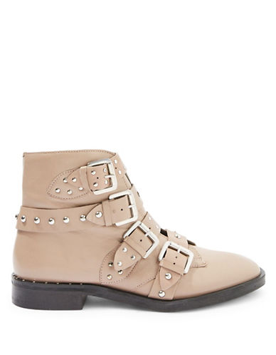 Topshop Amelia Leather Studded Ankle Boots-NUDE-EU 36/US 5.5