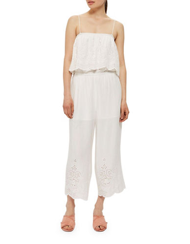 Topshop Embroidered Bardot Jumpsuit-WHITE-UK 12/US 8