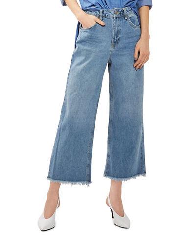 Topshop MOTO Cropped Wide-Leg Jeans 32-Inch Leg-BLUE GREEN-28X32