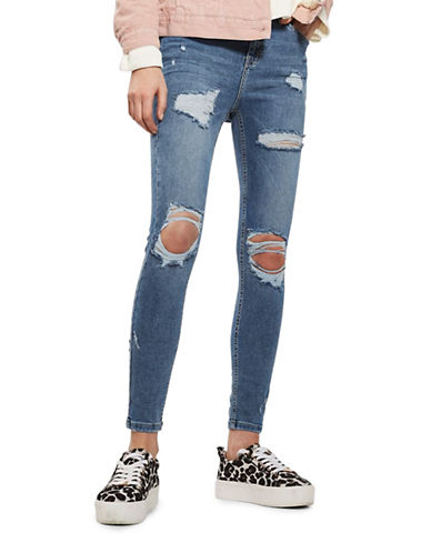 Topshop MOTO Super Rip Jamie Jeans 32-Inch Leg-INDIGO-28X32
