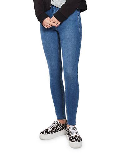Topshop MOTO Raw Hem Joni Jeans 30-Inch Leg-BLUE-30X30