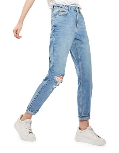 Topshop MOTO Ripped Mom Jeans 32-Inch Leg-BLUE-32X32