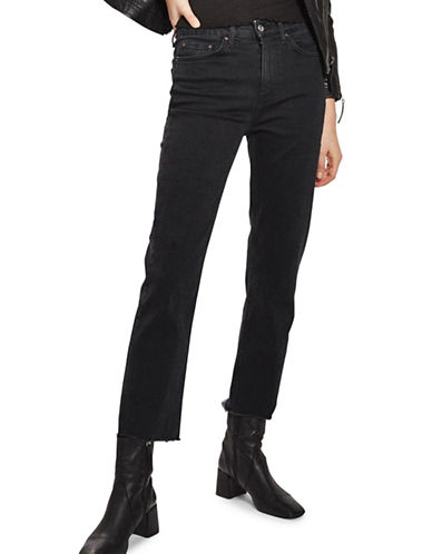 Topshop MOTO Washed Raw Hem Straight Leg Jeans 30-Inch Leg-WASHED BLACK-26X30