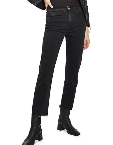 Topshop MOTO Washed Raw Hem Straight Leg Jeans 32-Inch Leg-WASHED BLACK-26X32