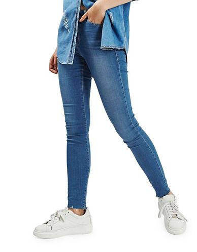 Topshop MOTO Raw Hem Leigh Jeans 30-Inch Leg-BLUE-25X30