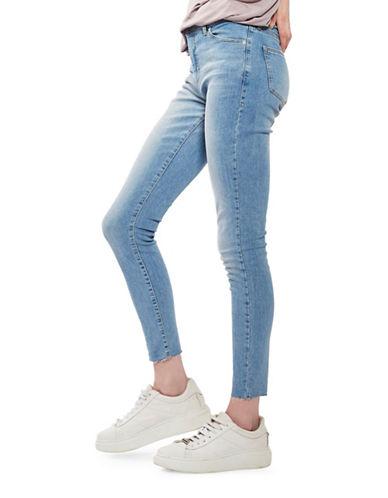 Topshop MOTO Leigh Raw Hem Jeans 32-Inch Leg-BLUE-32X32