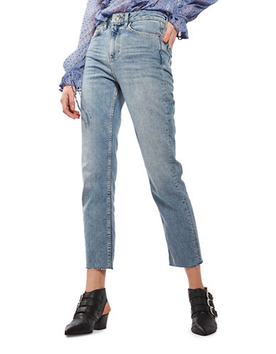 Topshop MOTO Raw Hem Straight-Leg Jeans 32-Inch Leg-BLEACH-26X32