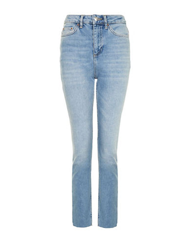 Topshop MOTO Washed Raw Hem Straight Leg Jeans 30-Inch Leg-BLUE-26X30
