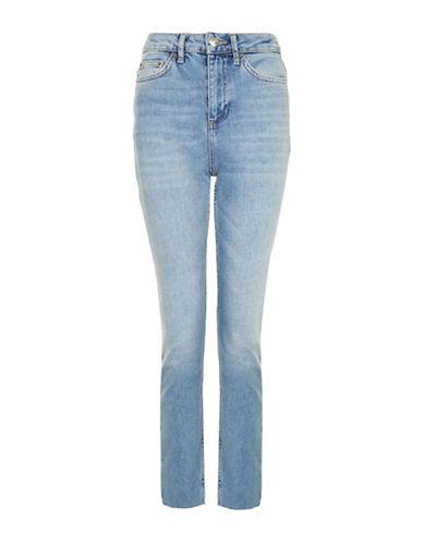 Topshop MOTO Washed Raw Hem Straight Leg Jeans 30-Inch Leg-BLUE-28X30