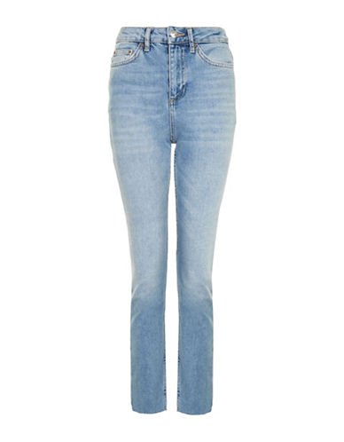 Topshop MOTO Washed Raw Hem Straight Leg Jeans 32-Inch Leg-BLUE-30X32