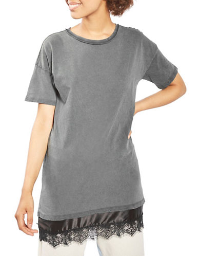 Topshop Lace Hem Boyfriend T-Shirt-WASHED BLACK-UK 6/US 2