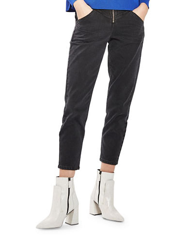 Topshop MOTO Zip Front Mom Jeans 30-Inch Leg-WASHED BLACK-32X30