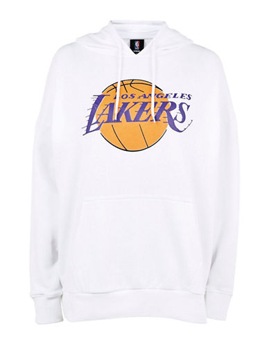 Topshop Los Angeles Lakers Oversized Hoodie by UNK-WHITE-Large