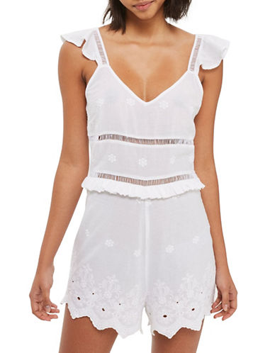 Topshop Embroidered Playsuit-WHITE-UK 10/US 6