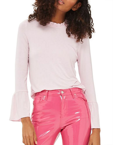 Topshop PETITE Frill Long-Sleeved Top-LIGHT PINK-UK 4/US 0