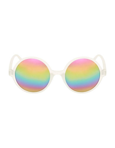 Topshop Lolly Round Sunglasses-CLEAR-One Size