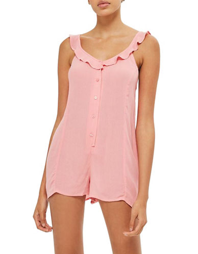 Topshop Frill Camisole Playsuit-PINK-Medium