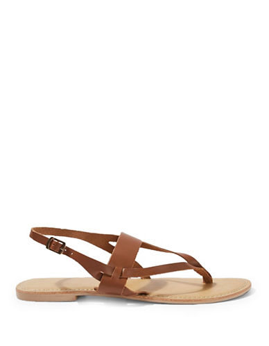 Topshop Heatwave Leather Thong Sandals-TAN-EU 40/US 9.5