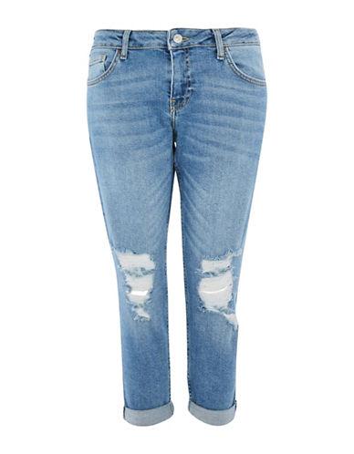 Topshop PETITE MOTO Ripped Lucas Jeans 28-Inch Leg-BLUE-28X28