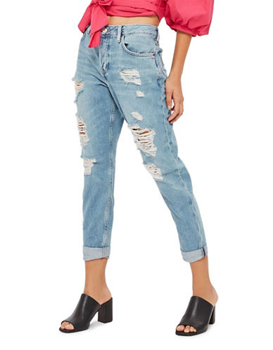 Topshop PETITE Super Rip Hayden Jeans 28-Inch Leg-LIGHT DENIM-25X28