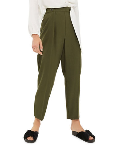 Topshop Eyelet-Front Peg Trousers-KHAKI/OLIVE-UK 8/US 4