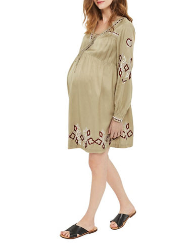 Topshop MATERNITY Embroidered Mini Dress-GREEN-UK 12/US 8