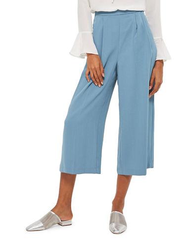 Topshop Sasha Cropped Wide Leg Trousers-LIGHT BLUE-UK 6/US 2