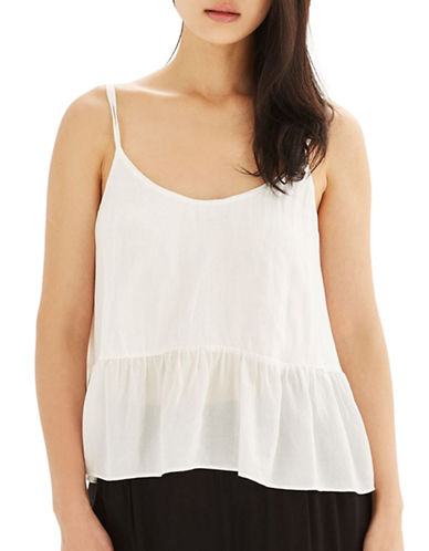 Topshop Relaxed Peplum Cami-IVORY-UK 16/US 12