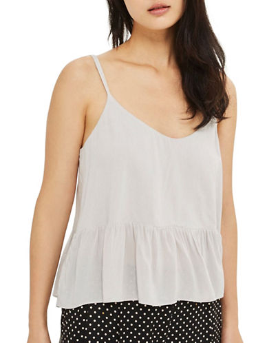 Topshop Relaxed Peplum Cami-LIGHT GREY-UK 14/US 10