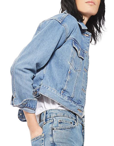 Topshop MOTO Fitted Denim Jacket-BLUE-UK 6/US 2